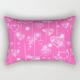 Openwork hearts on a bright pink background Rectangular Pillow