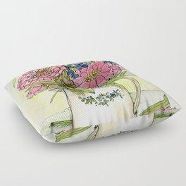 Pink Zinnias in Pitcher Watercolor Floor Pillow