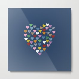 Distressed Hearts Heart Navy Metal Print
