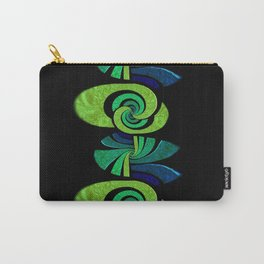 Blue, Green and Black Swirl (vertical circular) Carry-All Pouch