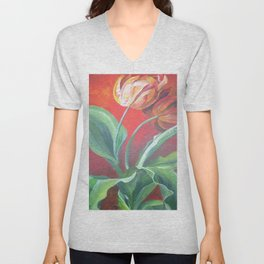Red and Yellow Tulips Unisex V-Neck