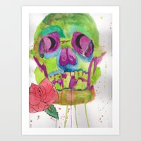 Skull and rose, mixed media Art Print