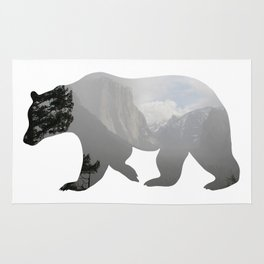 Grizzly Bear with Yosemite Photo Inlay Rug