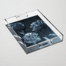 Blue Peonies Acrylic Tray