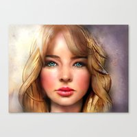 jennifer lawrence Canvas Prints featuring Jennifer Lawrence by Helena Rose Young