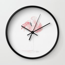 Tropical birds: Pastel pink flamingo Wall Clock