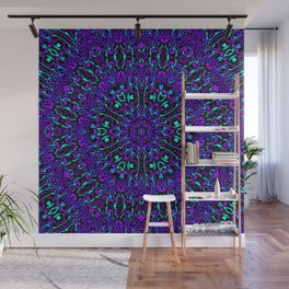 Cyan, Blue, and Purple Kaleidoscope 2 Wall Mural