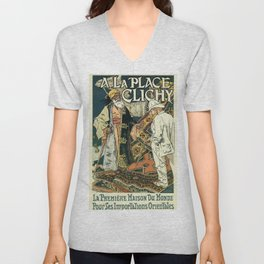 A la Place Clichy Paris 1891 Unisex V-Neck