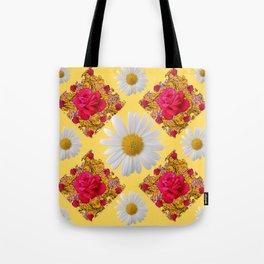 PINK ROSE & WHITE DAISIES YELLOW GARDEN ART Tote Bag