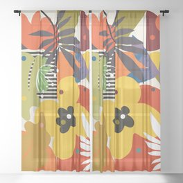 mid century minimal plant leaves Sheer Curtain
