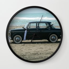 Weddings car on the  beach Wall Clock