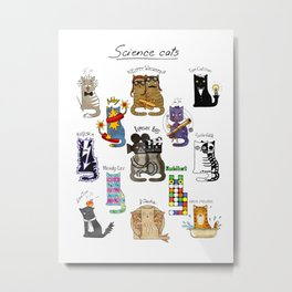Science cats. History of great discoveries. Physics, chemistry etc Metal Print