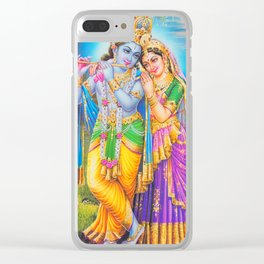 Radha Krishna Playing Flute Lakshmi Hindu Art Yoga Spiritual Clear iPhone Case