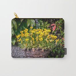 Yellow Pansies In a Hanging Baskets Carry-All Pouch