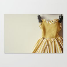 Doll Closet Series - Mustard Stripe Dress Canvas Print