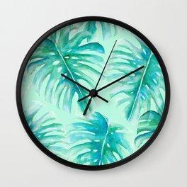 Paradise Palms Mint Wall Clock