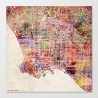 los angeles Canvas Prints featuring Los Angeles by Map Map Maps