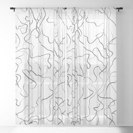 Squiggly lines black and white Sheer Curtain