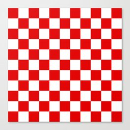 Checker Texture (Red & White) Canvas Print