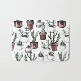 Happy Cacti in Rose Gold Pots Pattern Bath Mat