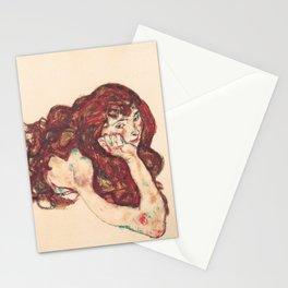 """Egon Schiele """"Auf dem Bauch liegender weiblicher Akt"""" Stationery Cards"""