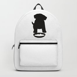 Puppy Dog Eating Food Silhouette Backpack