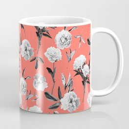 Peonies Mono Coral Coffee Mug
