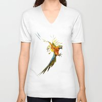 low poly V-neck T-shirts featuring Low poly Parrot by exya