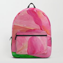 Dewdrops on pink rose Backpack