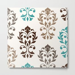 Heart Damask Art I Browns Teal Cream Metal Print