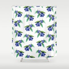 Blueberries Stripes Shower Curtain
