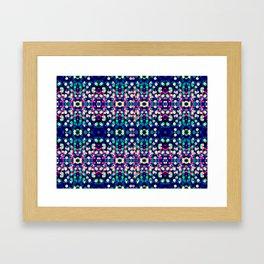 Vibrant Blue Bokeh Kaleidescope Pattern Framed Art Print