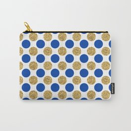 Pastel pink navy blue faux gold glitter polka dots Carry-All Pouch