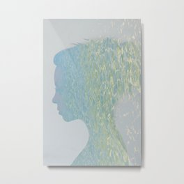 Portrait of a woman and ocean ripples Metal Print