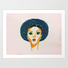 Blue Hat Girl Art Print
