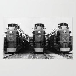Three of a Kind Train Locomotives - Trois locomotives du même genre  Rug
