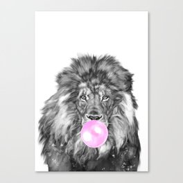 Bubble Gum Lion Black and White Canvas Print