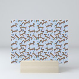 It's a Boy Sausage Dog Retro Style Seamless Pattern Mini Art Print
