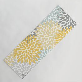 Floral Pattern, Yellow, Pale, Aqua, Blue and Gray Yoga Mat