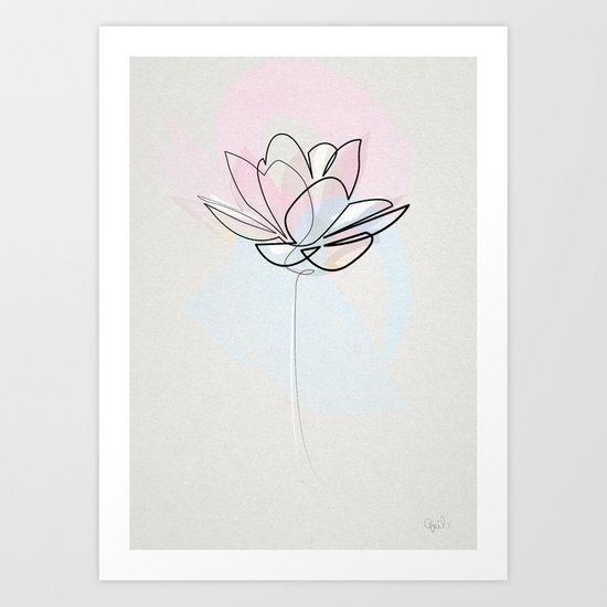 Single Line Drawing Flowers : One line lotus art print by quibe society