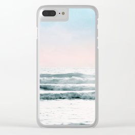 Pink Sky Ocean View Clear iPhone Case