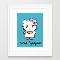 puppycat Framed Art Prints featuring Hello Puppycat by Nate Galbraith