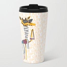 Hipster Giraffe Metal Travel Mug