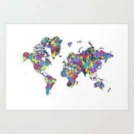MODERN GRAPHIC ART World Map white | Splashes Art Print