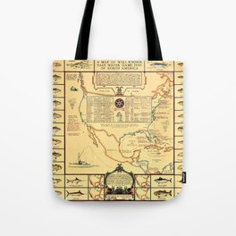 Illustrated Map of Well Known Salt Water Game Fish of North America Tote Bag