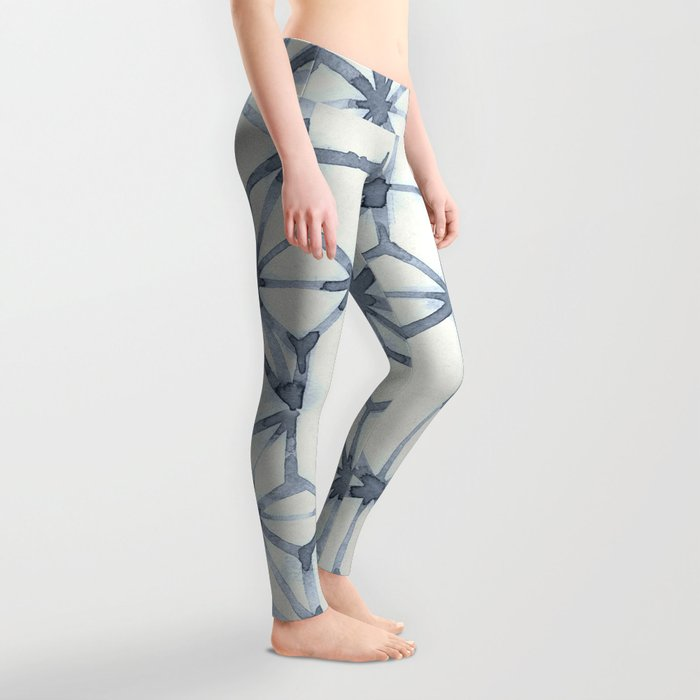Simply Shibori Stars in Indigo Blue on Lunar Gray Leggings