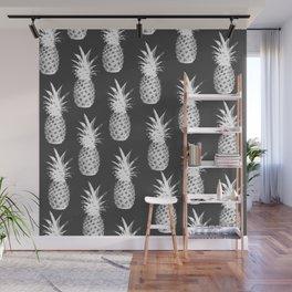 Pineapple Pattern - Dark Grey Wall Mural
