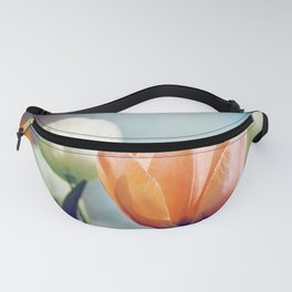 Orange Tulip Navy Blue Flower Photography, Coral Peach Floral Nature Fanny Pack