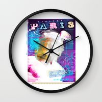 posters Wall Clocks featuring Paris Posters - Hermez by G_Stevenson