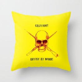 Artist At Work! Skully Throw Pillow